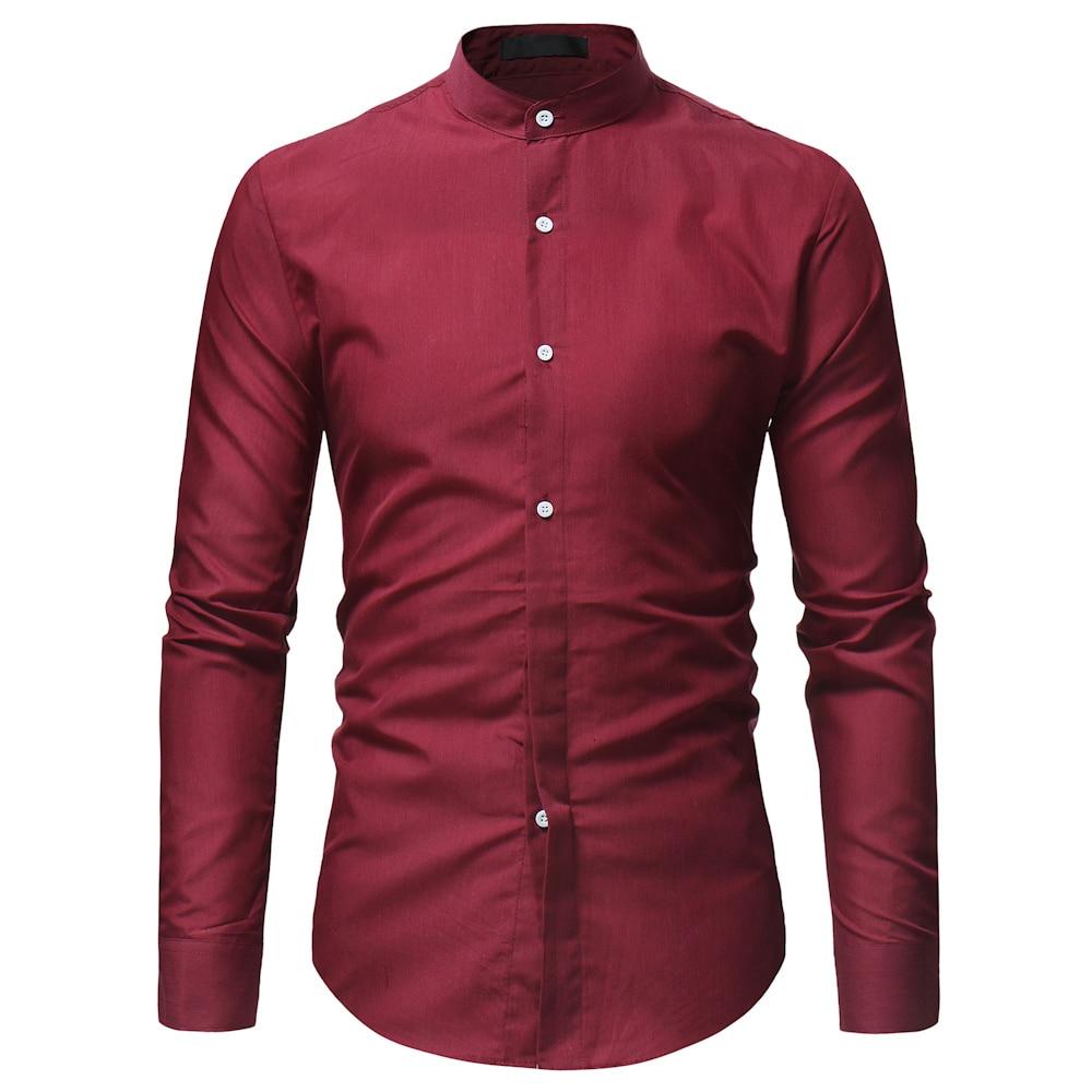 WSGYJ Shirt Men 2019 Fashion Mandarin Collar Long Sleeve Pure Color Dress Shirt Slim Fit Social Business Camisa Black