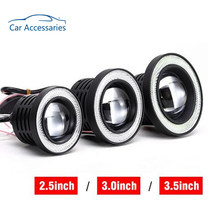 2pcs White Red Ice Blue 2.5/3/3.5 inch COB Angel Eyes Fog Lights Led Car Headlight Lamp DRL Universal Daytime Running Light(China)