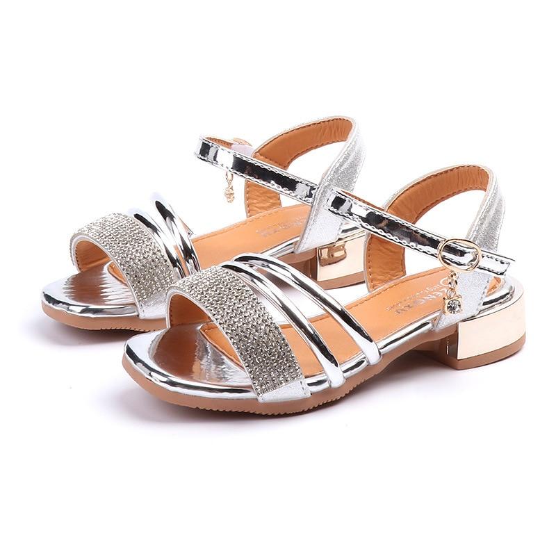 summer children sandals for girls Artificial leather high heel princess sandals girls princess dance shoes for girls children