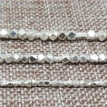 Karen hill tribo contas de hexágono facetadas prata 1.5mm 2.5mm 3mm 4mm 6mm para pulseira colar