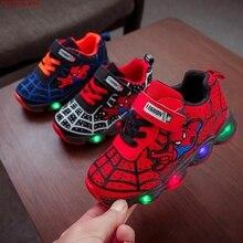 HaoChengJiaDe SpiderMan Children Shoes With Light Kids Luminous Sport S