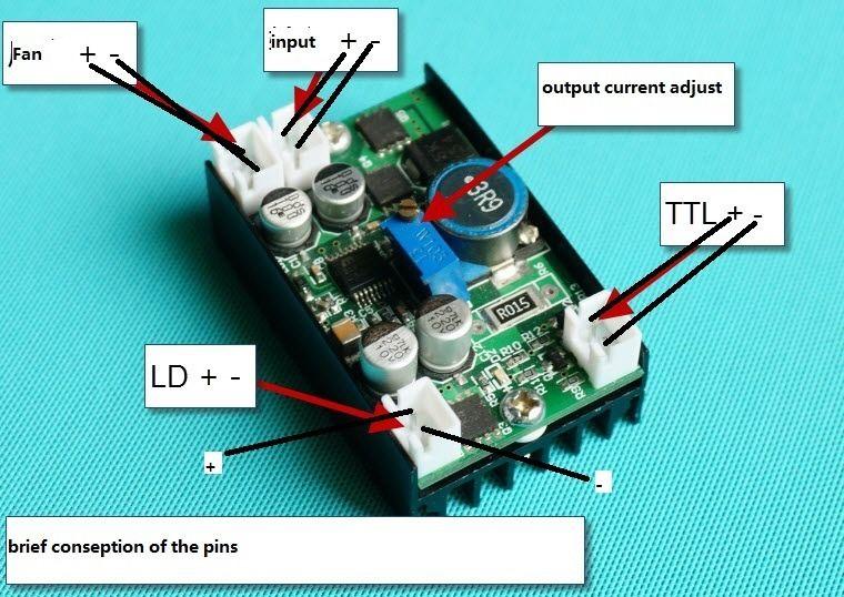 5A Alimentazione 12VDC Driver per 445nm 450nm 3 W-4.5 W 405nm/445nm/450nm/520nm 3.5 W NDB7A75 Blu Laser Diode LD con TTL