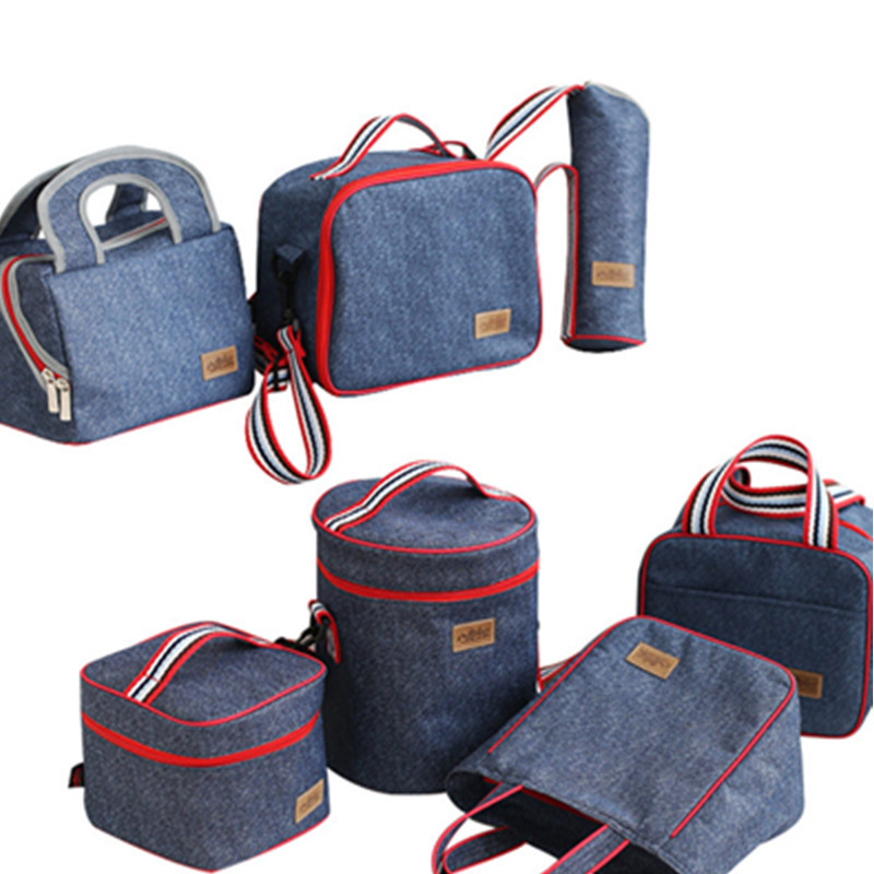 Denim Lunch Bag Kid Bento Box Insulated Pack Picnic Drink Food Thermal Ice Cooler Leisure Accessories Supplies Product sannen 7l double decker cooler lunch bags insulated solid thermal lunchbox food picnic bag cooler tote handbags for men women