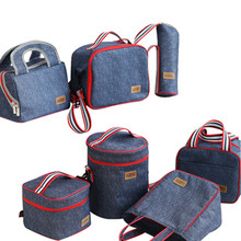 Denim Lunch Bag Kid Bento Box Insulated Pack Picnic Drink Food Thermal Ice Cooler Leisure Accessories
