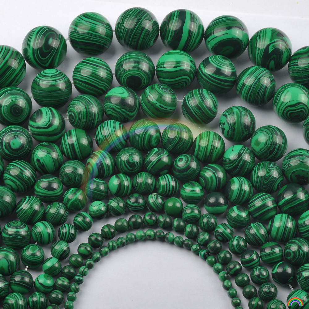 Wholesale Synthetic Stone Green Malachite Round Loose Beads 15