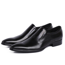 QYFCIOUFU New Genuine Leather Men Oxford Shoes Slip-on Casual Business Men Pointed Shoes Brand Men Wedding Men Dress Shoes