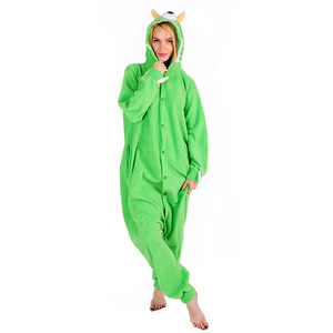 Image 4 - Vrouwen Hooded Pyjama Vrouwelijke Fleece Nachtkleding Meisjes Leuke Monoculaire Monster Cartoon Pyjama Winter Kigurumi Animal Pyjama Set
