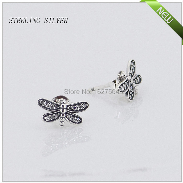 Dragonfly Stud Earrings With Clear Cubic Zirconia 100% 925 Sterling Silver Jewelry Free Shipping
