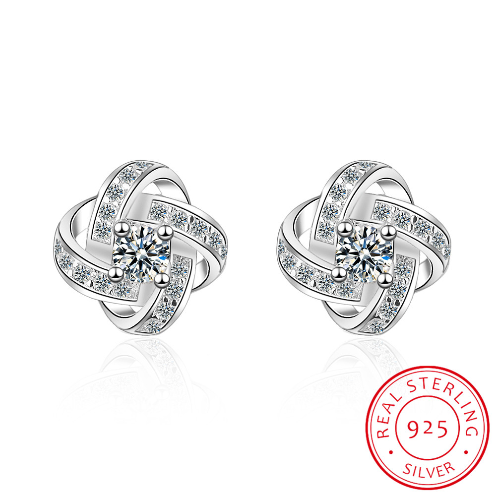 b46346eb2 925 sterling silver zircon round circle stud earring in cz crystal jewelry  fashion luxury women new love girl engagement earring ~ Free Shipping June  2019