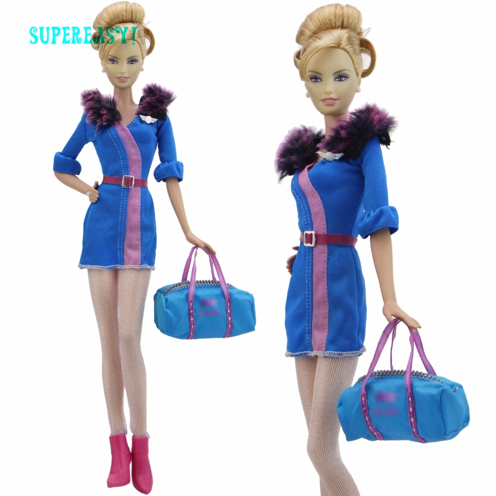 High Quality Outfits Sexy Short Dress Fur Collar Belt Stockings Handbag High Heels Shoes Clothes For Barbie Doll Accessories Toy pink wool coat doll clothes with belt for 18 american girl doll
