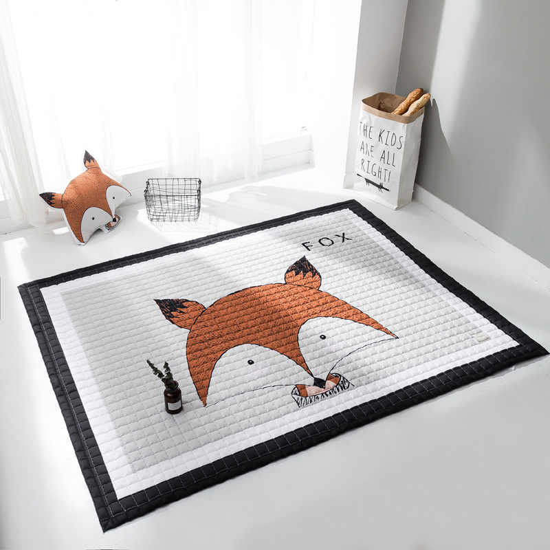 Nueva llegada alfombra de dibujos animados nórdicos Impresión digital alfombra de felpa corta alfombra de juego para niños estera de yoga estera no- slip engrosamiento