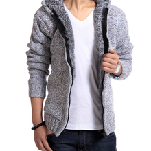 2017 New Arrival Men's Fashion Solid Thick Warm Sweater Male Casual Hooded Winter Wear Fur Lining Sweater XXL