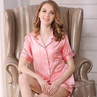 10color women's pajama sets silk 2019 fashion brand 100% silk womens sleep&lounge short sleeve shorts summer woman pajamas Set