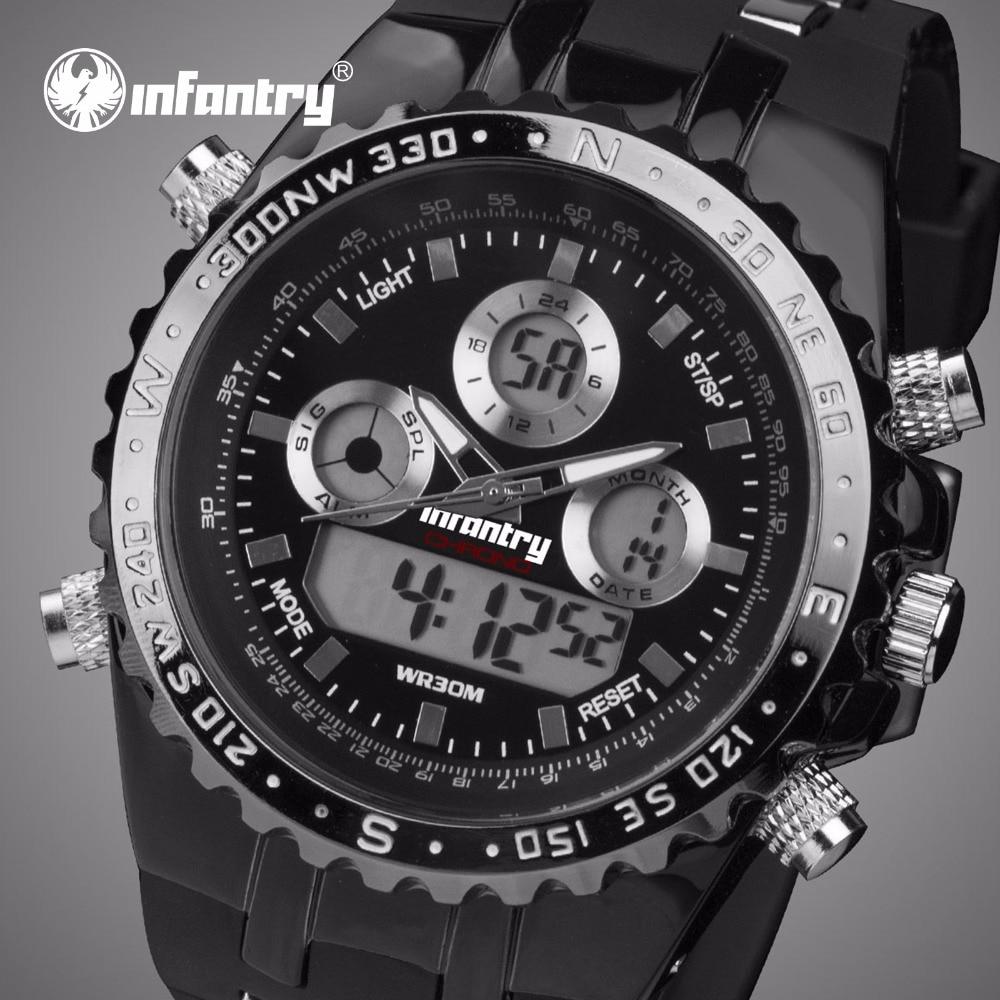 b0af5f02a57 INFANTARIA Mens Relógios Top Marca de Luxo Relógio Militar Analógico  Digital Homens Relógio Grande Exército para