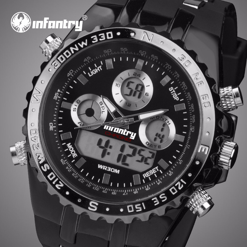 INFANTRY Mens Quartz Watches LED Digital Date Day Chronograph Silicone Strap Waterproof Sports Wristwatches Relogio Masculino infantry mens watches relojes hombre luminous watches 2017 new date day police black g10 nylon fabric strap quartz watches