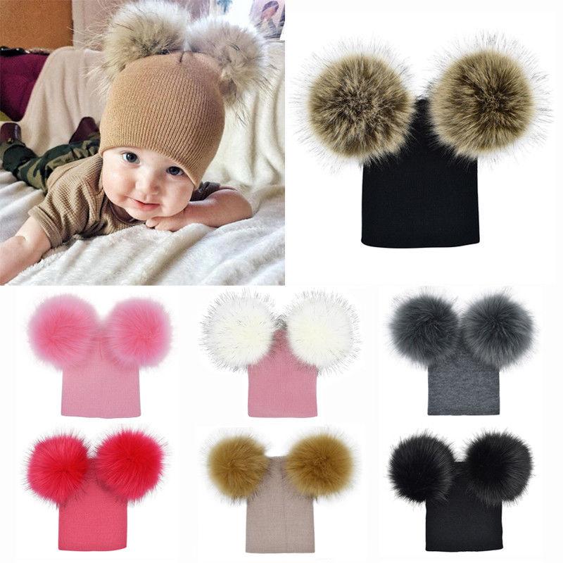 Baby Hat Pom Pom Bobble Winter crochet Warm Beanie Cap Boy 0-3 month