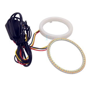 Image 2 - DIY Car styling LED COB Angel Eyes with Turn Light Signal Yellow White Cotton Waterproof Day time running dual colors Halo Rings