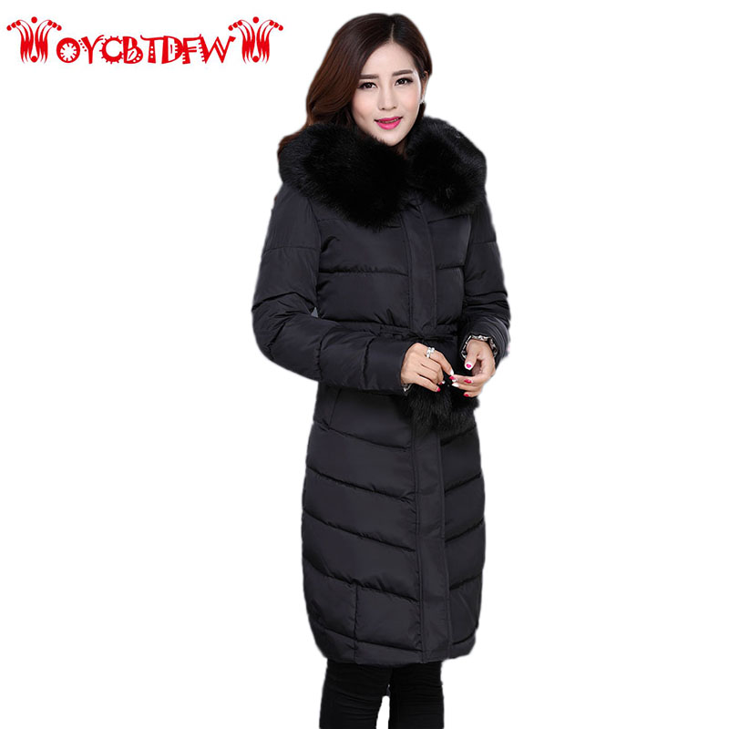 Winter Women Feather Cotton Coat 2018 New Pure Color Plus Size mid-Long Thickening Fur collar Hooded Warm Women outerwear Ll195 2016 new winter coat collar men thickening big hooded cotton coat prevent cold outdoor lovers long fur collar cotton parka