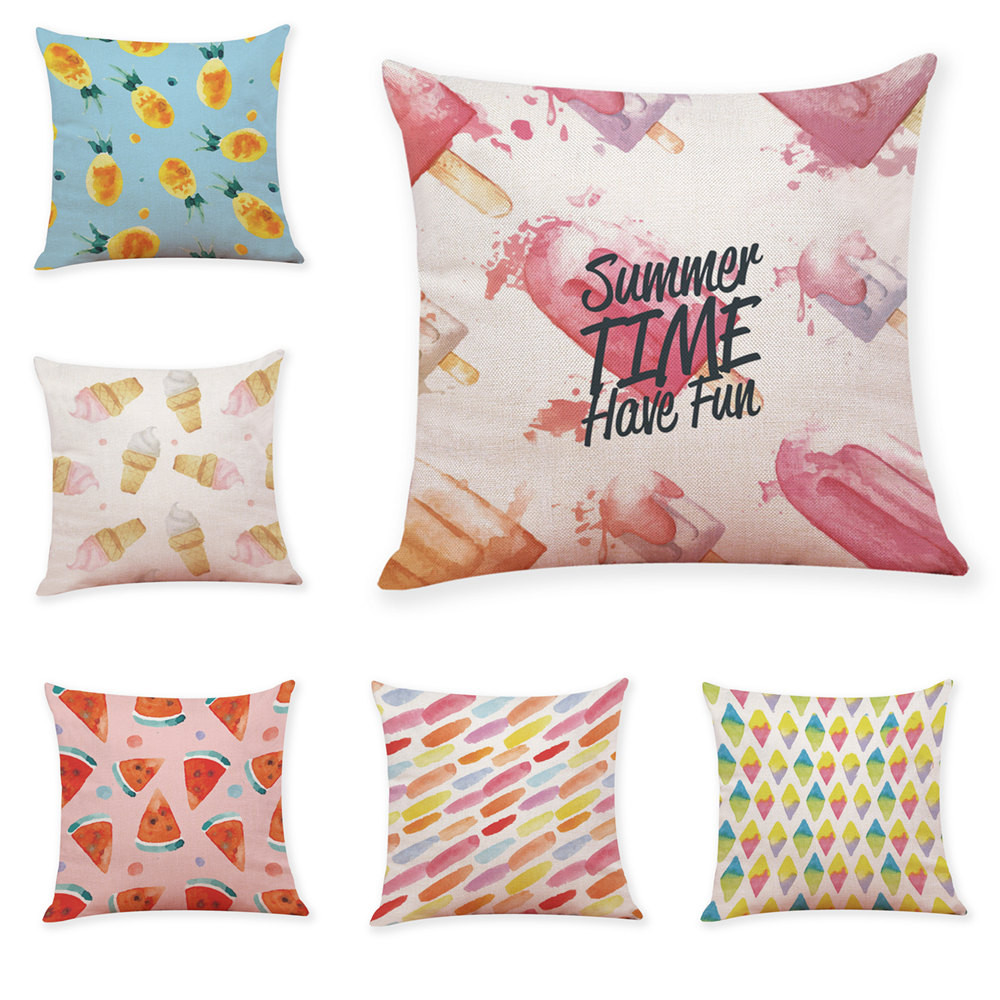 Summer Fruit Ice Cream Cushion Cover Square Throw Pillows Case Cotton Linen fundas cojines decorativos para sofa home decoration