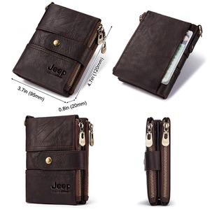 Image 4 - 2020 100% Genuine Leather Rfid Wallet Men Crazy Horse Wallets Coin Purse Short Male Money Bag Mini Walet High Quality Boys
