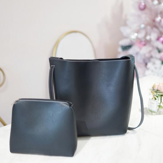 All-Match Bucket Bag Pu Leather One Shoulder Women\'S Handbags Blarge Capacity Female Bag Weiruo88