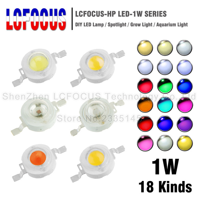 10pcs High Power LED Chip 1W COB Natural Cool Warm White Red Blue Green Yellow Full Spectrum Grow SMD Light Lamp Diode