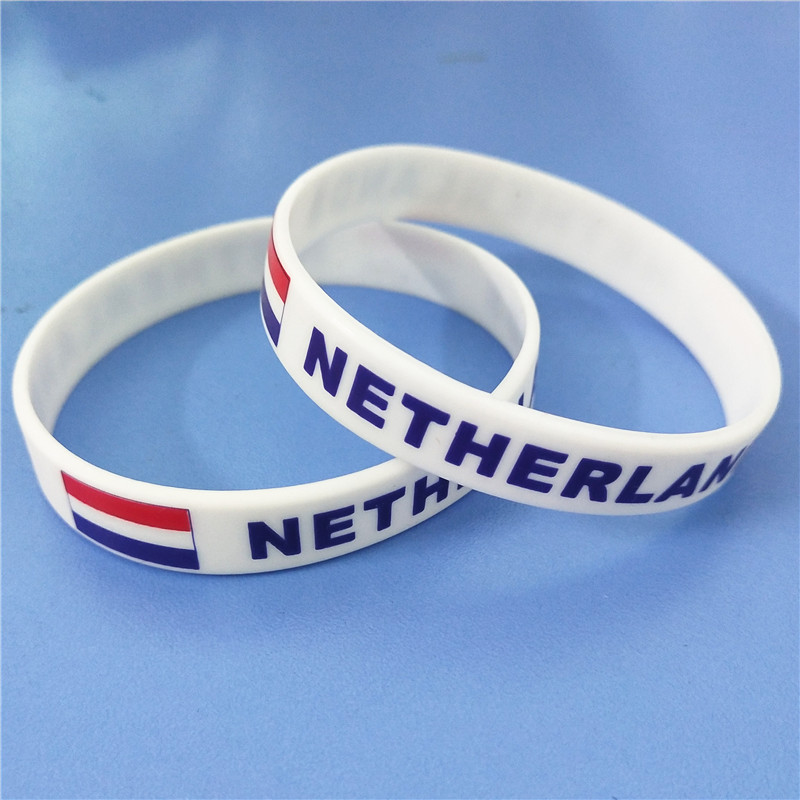1PC Netherlands Flag Silicone Wristband White Nederlands Football Sports Souvenir Silicone Rubber Bracelets&Bangles Gifts SH223 3