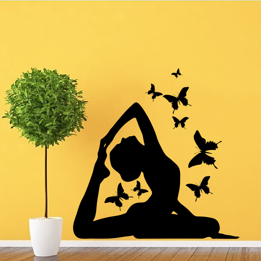 Home Decoration Yoga Posture Wall Art Decals Removable Butterflies Vinyl Stickers Nursery Gym Sport Yoga Center Adesivo NY 329 in Wall Stickers from Home Garden