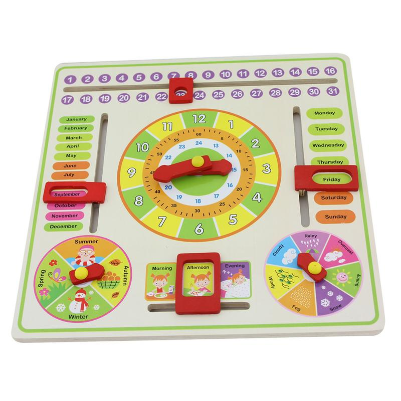 Calendar Clock Puzzle Hanging Wooden puzzle Board Parent-Child Early Education Toy Learn Time Season Weather Month
