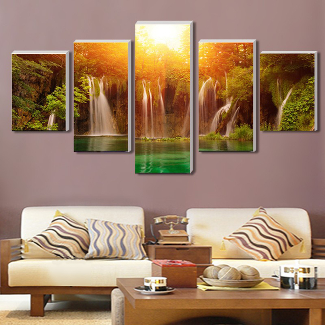 Cuadros Decoracion 5 Panel/set Canvas Art Waterfall With Sun Landscape Wall Picture Print Painting For Living Room