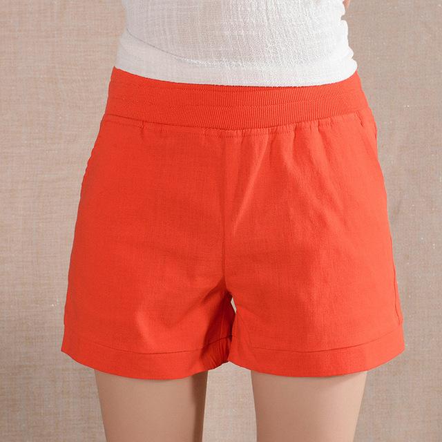 2016 Women Shorts Solid Short Femme Pocket Linen Summer Shorts Casual Loose  High Waist Shorts Plus Size S-4XL A315