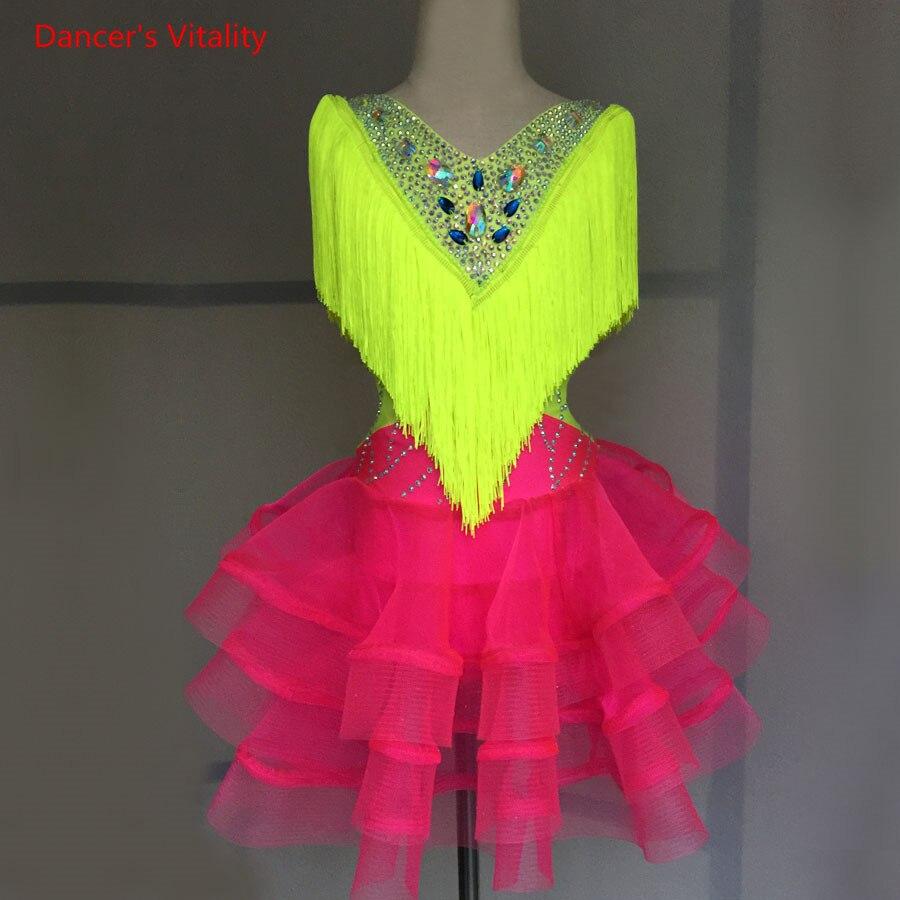 Children Professional Latin Dance Dress For Women Girls Ballroom Dance Competition Dresses Kids Modern Waltz Tango Costumes