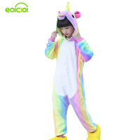 EOICIOI Flannel Animal Rainbow Unicorn Cosplay Children Boys Girls Pajamas Hooded Kids Sleepwear Baby Pijamas Infantil