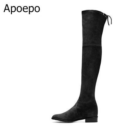 все цены на Top Selling 2017 New Design Slim Black Suede Leather Lowland Over The Knee Boots Back Tie-Up Stretch Winter Women Long Boots онлайн