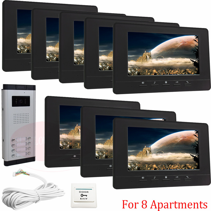 For 8 Apartments Home Security Video Door Phone Intercom Doorbell Camera With 7lcd Monitor IR Camera In Stock! video phone intercom with door rfid electric lock intercom camera video doorbell for 6 apartments 7inch color tft lcd monitor