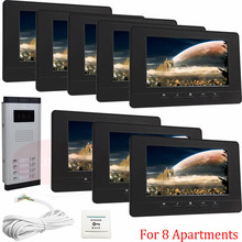 For 8 Apartments Home Security Video Door Phone Intercom Doorbell Camera With 7″lcd Monitor IR Camera In Stock!