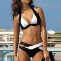 Traje de baño Bikini Push Up Bikini Brasileño Sexy mezcla de blanco y negro traje de Baño las mujeres traje de Baño bikini conjunto bikini 2016