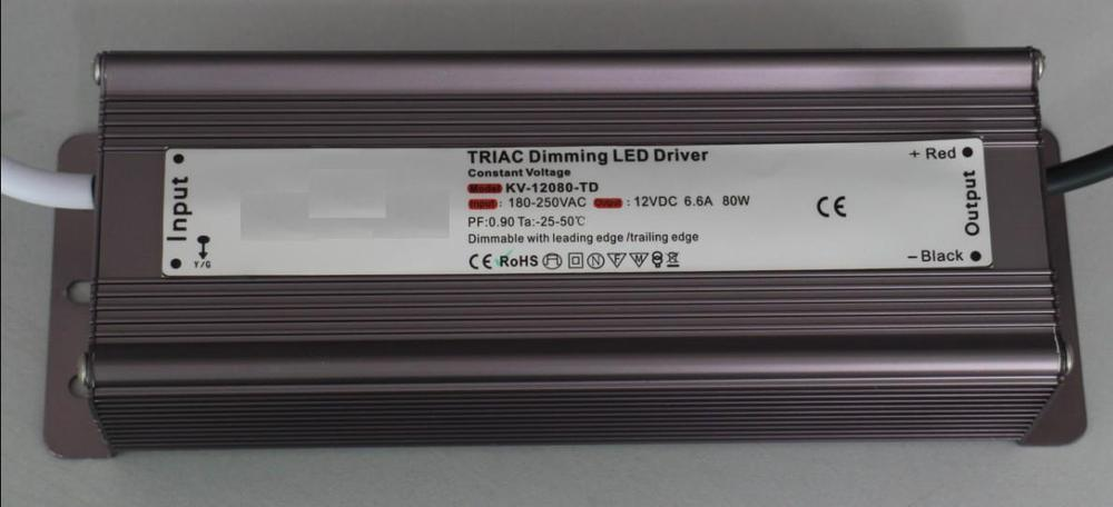 80W IP68 triac dimmable constant voltage led driver,AC90-130V/AC170-265V input,12V/80W output kvp 24200 td 24v 200w triac dimmable constant voltage led driver ac90 130v ac170 265v input