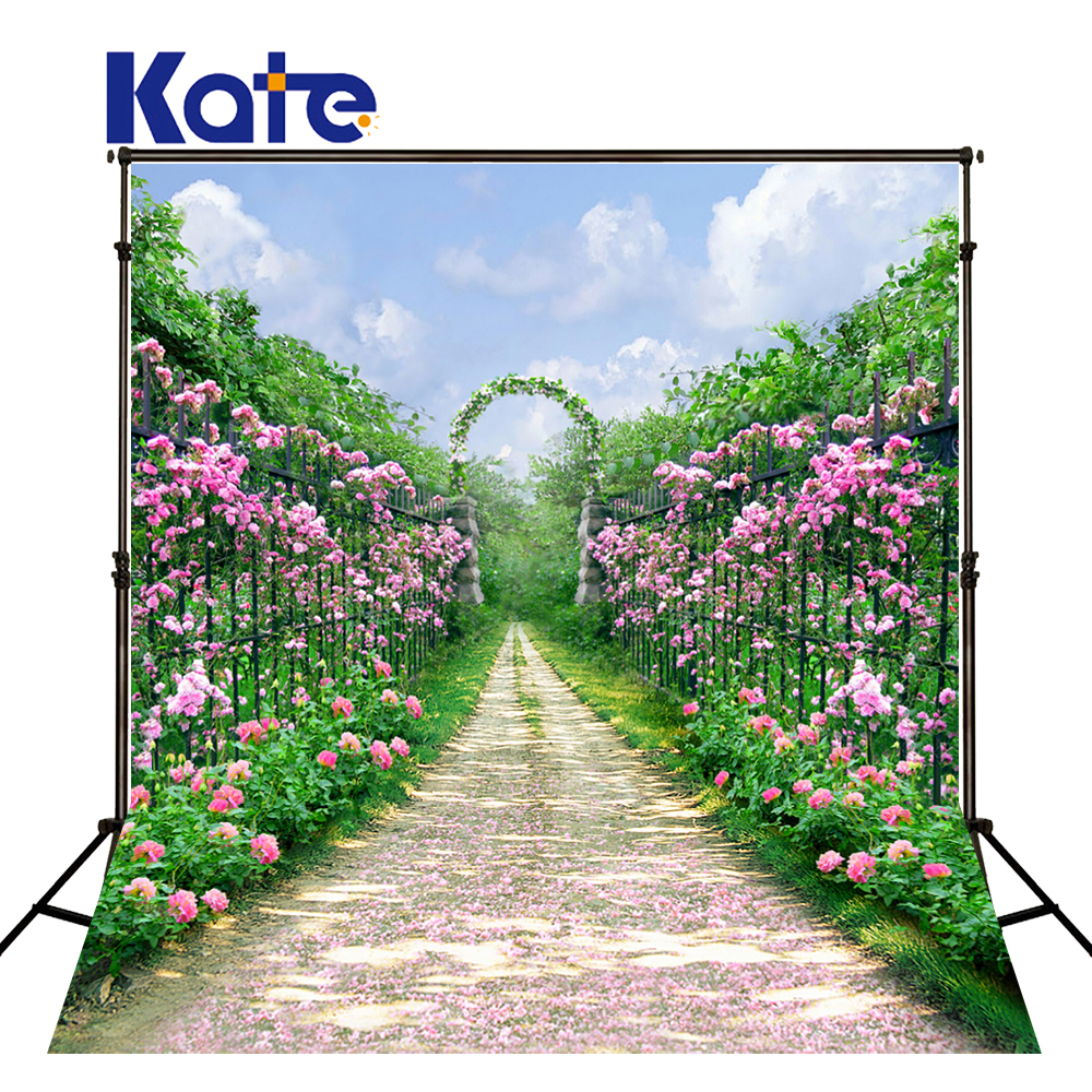KATE Background Photography 5x7ft Spring Backdrop Pink Flower Backdrops Newborn Background Garden Arches Road Wedding Backdrop kate flower wall pink backdrop romantic wedding photography backdrops spring photography backdrops large size seamless p