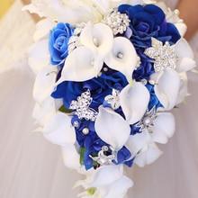 IFFO Королевский синий букет, белый букет Калла лилии, капли воды форма водопада, роскошные ювелирные изделия букет Романтическая свадьба