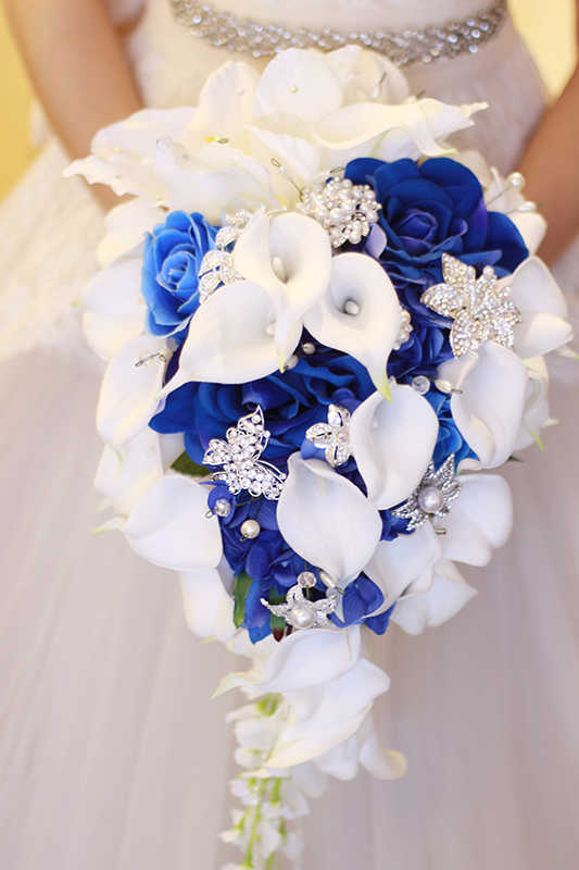 IFFO Royal Biru Bouquet, putih Calla Lily Bridal Bouquet, Tetes Air Terjun air Bentuk, Perhiasan mewah Bouquet Pernikahan Romantis