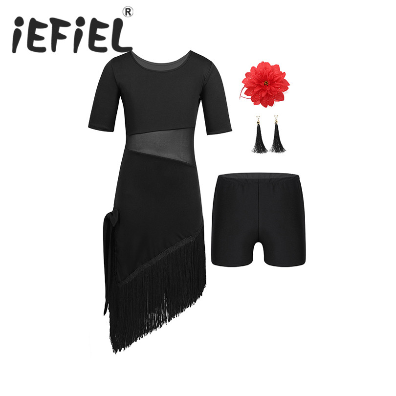 Kids Girls Children Ballet Dancewear Outfit Short Sleeves Mesh Splice Irregular Tassels Hem Dress with Shorts Earrings Hair Clip