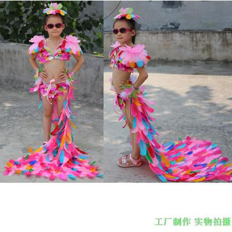 New children's model catwalk show performance DJ performance color feather underwear Cosplay super star bikini suit