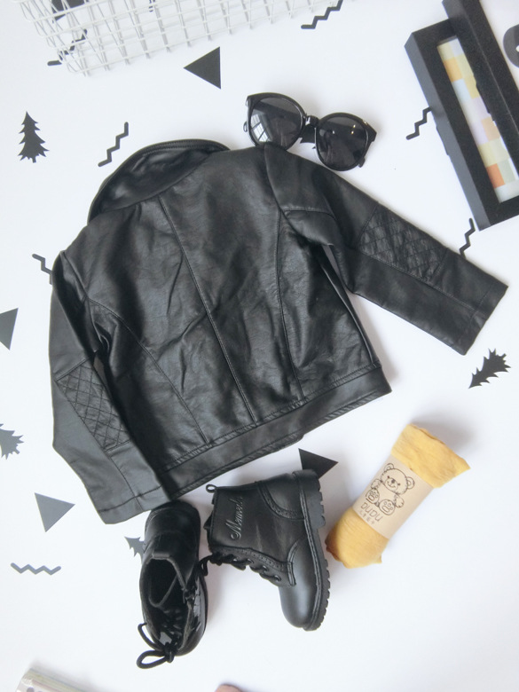 Wind PU Leather Leather Coat Baby Boys and Girls Short Children Jacket 33