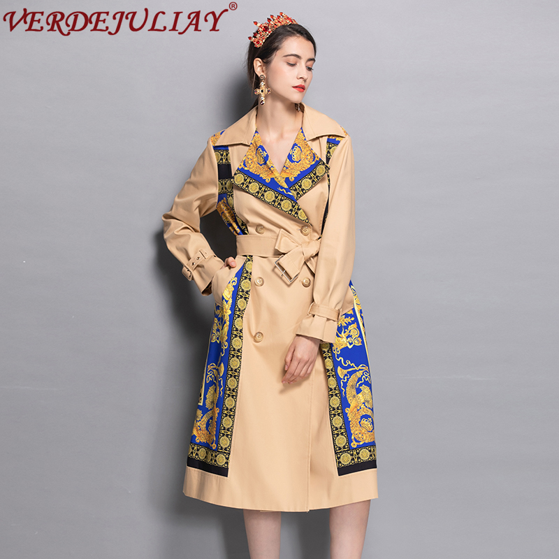 High Street Ladies Fashion Trench 2019 Early Autumn Print Patchwork Belt Double Breasted Hot Sale Apricot Long Slim Coat