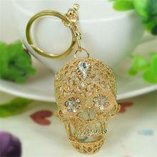 Free Shipping Fashion S Skull Head Keyring Rhinestone Crystal Buckle Keychain Key Ring For Women Charms Bag Pendant Jewelry Gift