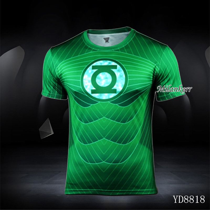 34a6d9afd Summer Compressed Shirt Sports Green Lantern T-shirt Man Breathable Quick  Dry Fitness Men Clothing Runing Hiking Biking Clothing