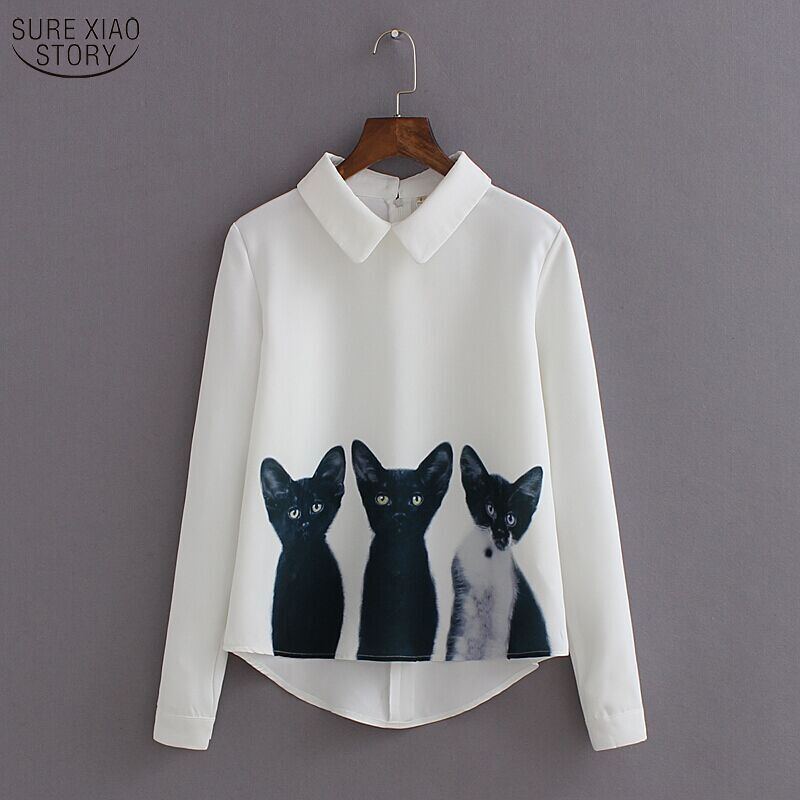 2017 new fashion three cats all-match white chiffon blouses female pullover shirt sleeved casual blusas 376i 20