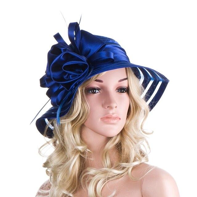 Blue Sun Hats for Women wide brim Summer Hats Ladies Ourdoor Cloche Floppy Hats Polyester Female Beach Hats A214