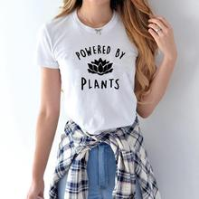 Dropshipping New 2019 Hot Selling Vegetarian Vegan POWERED BY PLANTS Fashion T Shirt for Women Harajuku Tumblr Female